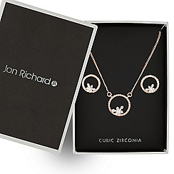 Jon Richard - Rose gold floral open circle cubic zirconia necklace and earring set