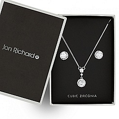 Jon Richard - Silver cubic zirconia pave circle necklace and matching earring set