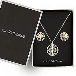Jon Richard - Gold filigree necklace and matching earring set