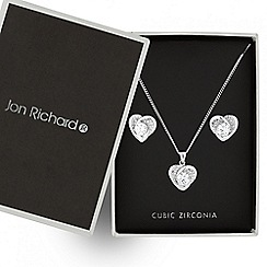 Jon Richard - Silver cubic zirconia heart necklace and matching earring set