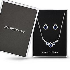 Jon Richard - Blue cubic zirconia peardrop cluster necklace and earring set