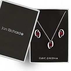 Jon Richard - Red cubic zirconia twist necklace and earring set