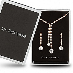 Jon Richard - Rose gold cubic zirconia double drop y necklace and earring set