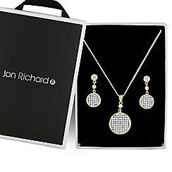 Jon Richard - Gold micro pave disc jewellery set