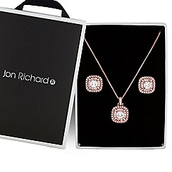 Jon Richard - Rose gold pave square jewellery set