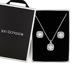 Jon Richard - Silver crystal square jewellery set