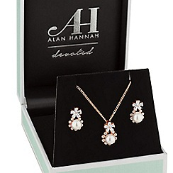 Alan Hannah Devoted - Rose gold floral pearl jewellery set