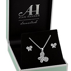 Alan Hannah Devoted - Silver pave butterfly jewellery set