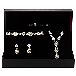 Jon Richard - Gold crystal peardrop jewellery set