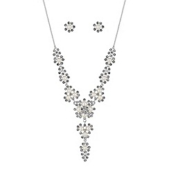 Alan Hannah Devoted - Designer silver crystal and pearl cluster jewellery set