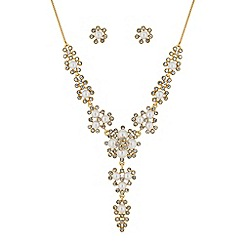 Alan Hannah Devoted - Designer gold crystal and pearl cluster jewellery set