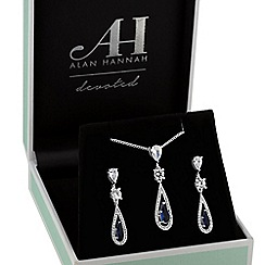 Alan Hannah Devoted - Designer blue peardrop jewellery set