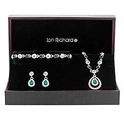 Jon Richard - Green crystal peardrop jewellery set