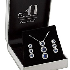 Alan Hannah Devoted - Designer halo drop jewellery set in a gift box