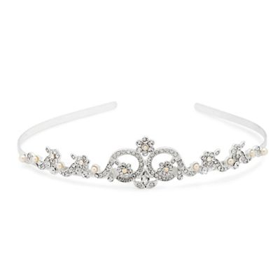 Alan Hannah Devoted Crystal flower and pearl embellished tiara - . -