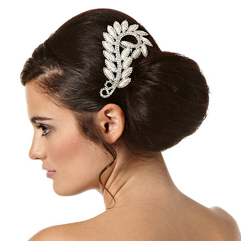 Jon Richard - Pearl marquis and diamante crystal swirl hair comb