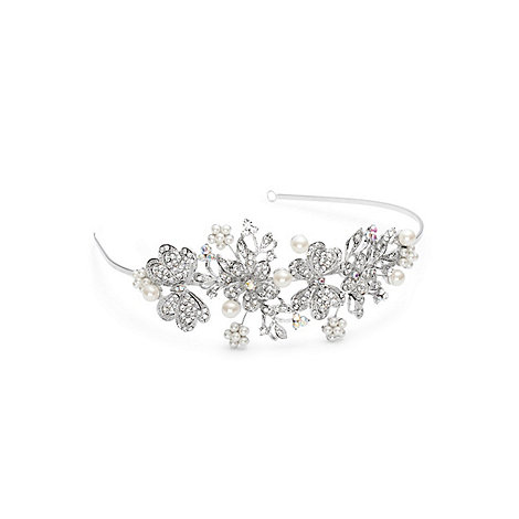 Jon Richard - Crystal butterfly and pearl flower statement headband