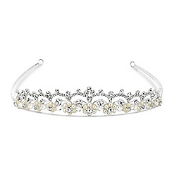 Jon Richard - Pearl flower and diamante crystal loop tiara