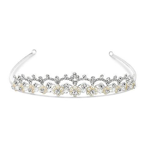 Jon Richard - Pearl flower and diamante crystal loop tiara