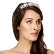 Multi crystal flower and facet bead tiara
