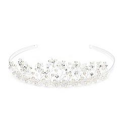 Jon Richard - Pearl and crystal facet bead daisy spray tiara
