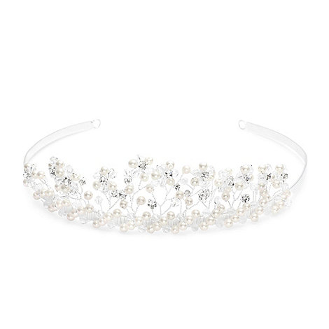 Jon Richard - Pearl and crystal facet bead daisy spray tiara