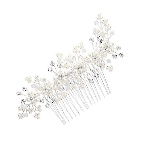 Jon Richard - Pearl flower and crystal spray hair comb