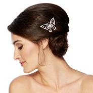 Small crystal butterfly hair comb
