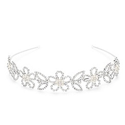 Jon Richard - Pearl daisy and diamante flower wide headband