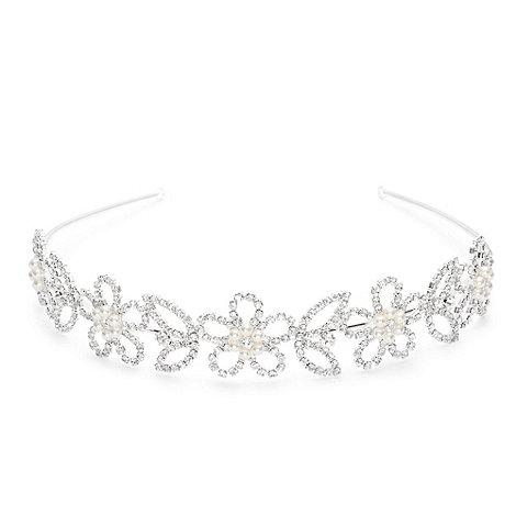 Jon Richard - Pearl daisy and diamante flower wide headband