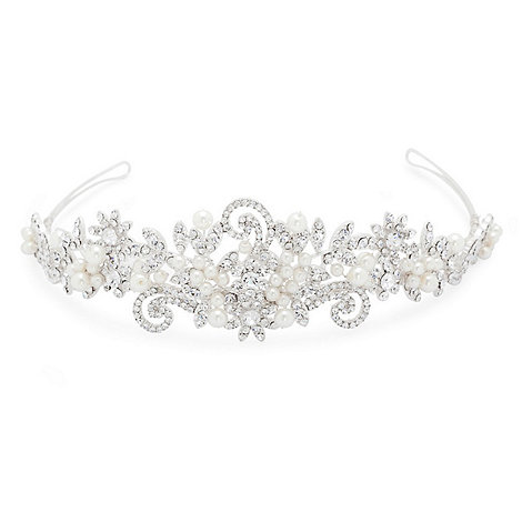 Alan Hannah Devoted - Statement pearl and crystal swirl tiara