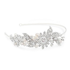 Alan Hannah Devoted - Freshwater pearl and crystal flower and leaf headband