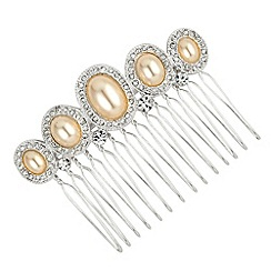 Alan Hannah Devoted - Oval pearl and crystal surround comb