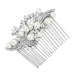 Jon Richard - Pearl and crystal navette stone hair comb