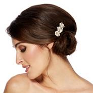 Designer pearl and crystal teardrop hair comb