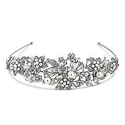 Jon Richard - Statement crystal flower and pearl silver headband