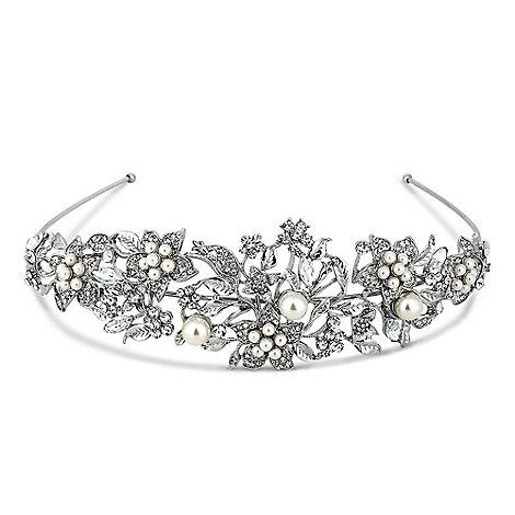 Jon Richard - Statement crystal flower and pearl silver headband