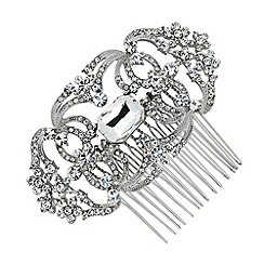 Jon Richard - Crystal flower and loop effect hair comb