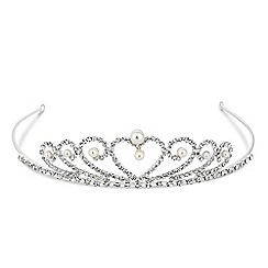 Jon Richard - Mini pearl and crystal heart tiara