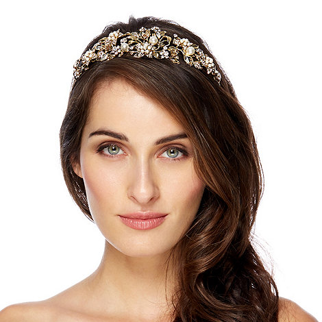 Jon Richard - Online exclusive crystal flower and pearl gold headband