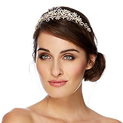 Alan Hannah Devoted - Designer online exclusive pearl and crystal gold swirl tiara