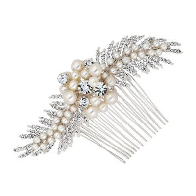 Alan Hannah Devoted Adelle freshwater pearl and crystal leaf spray comb - . -