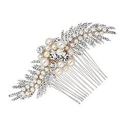 Alan Hannah Devoted - Adelle freshwater pearl and crystal leaf spray comb