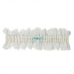 Jon Richard - Online exclusive blue satin bow and crystal lace garter