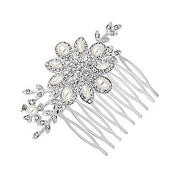 Jon Richard - Pearl and navette flower hair comb