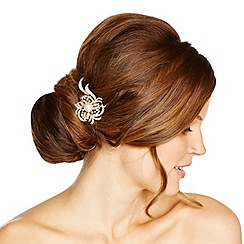 Jon Richard - Statement pearl and crystal swirl mini gold hair comb
