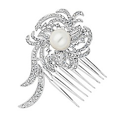 Jon Richard - Statement pearl and crystal swirl mini silver hair comb