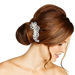 Jon Richard - Pearl and crystal embellished swirl hair comb