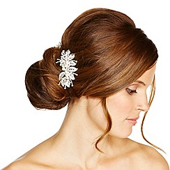 Jon Richard - Filigree crystal leaf and pearl hair comb
