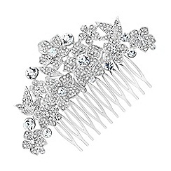 Jon Richard - Statement pave crystal floral hair comb